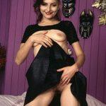 lifting up black dress to reveal hairy urdu pussy